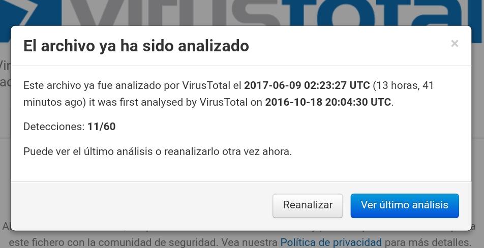 archivo ya analizado por virustotal